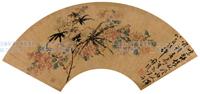 明清花鸟扇面-陈淳-花卉扇面