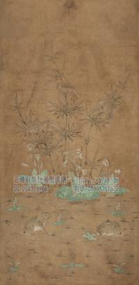 佚名-竹雀双兔图