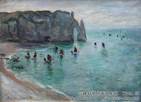 克劳德・莫奈Claude-Monet---Etretat-the-Aval-door-fishing-boats-leaving-the-harbour-(1885)