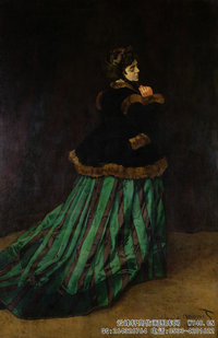 克劳德・莫奈Claude-Monet---Camille,-or-The-Woman-with-a-Green-Dress-(1866)