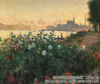 克劳德・莫奈Claude-Monet---Flowered_Riverbank,-Argenteuil-(1877)