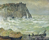 克劳德・莫奈Claude-Monet---Etretat,-Rough-Sea-(1883)