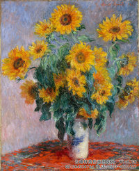 克劳德・莫奈Claude-Monet---Bouquet-of-Sunflowers,(1881)