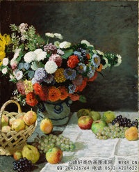 克劳德・莫奈Claude-Monet---Flowers-and-fruit-(1869)